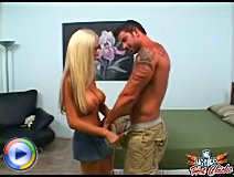 Platinum blonde babe goes down on julians massive meat pipe