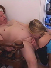 This horny young slut loves fucking old men and she gladly sucks an old fart's hard cock