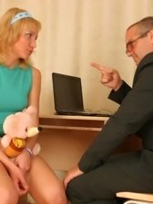 Hot blonde schoolgirl with perfect body fulfils her nasty teacherâ?�s filthy fantasies of hot teen sex