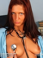 Nasty nurse sara opening her pussy wide, playing with her pussy lips