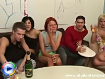 Red haired foxy eats three dicks on cam