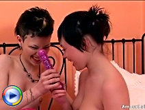 Pretty teen lesbians are indeed very lustful and eager to fuck brutally their tender pussies with huge dildos