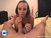 Salacious busty amateur, working every inch of her boyfriend's big cum rocket.