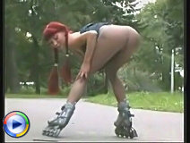 Public stripping from hot bitchie on rollerblades