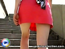 4 upskirt hidden cam vids of a girl bending over and flashing her cute white panties.
