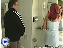Horny old bastard fucks a hot young babe in the toilet and makes her do some naughty stuff