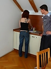 Rosy invited her old friend and they fucked at the kitchen absolutelly shamelessly. rosy rode and gulped huge dick.