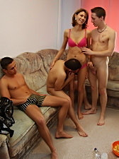 Drunk college party with filthy games and hardcore fuck