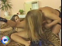Beautiful ladies dildo fucking each other
