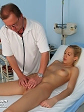 Lynn pussy speculum gaping on gynochair by kinky old doctor