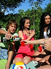 After-school picnic party with drunk coeds badly owned