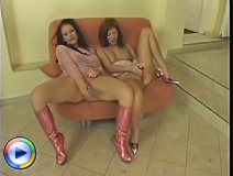 Hot chicks enjoying a sex toy rammed in their pussies