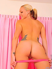 Pretty cali kayden having a nice time stroking her wet pink snatch with transparent dildo